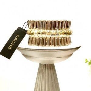 Cache Crystal Gold Link stretch bracelet NWT
